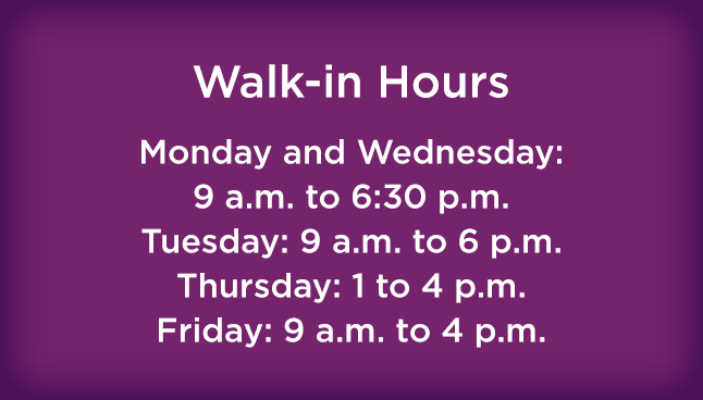 CCP Monroeville Walk-in hours
