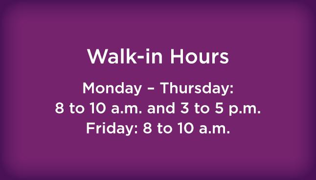 Pittsburgh Pediatrics, Wexford Office Walk-in hours