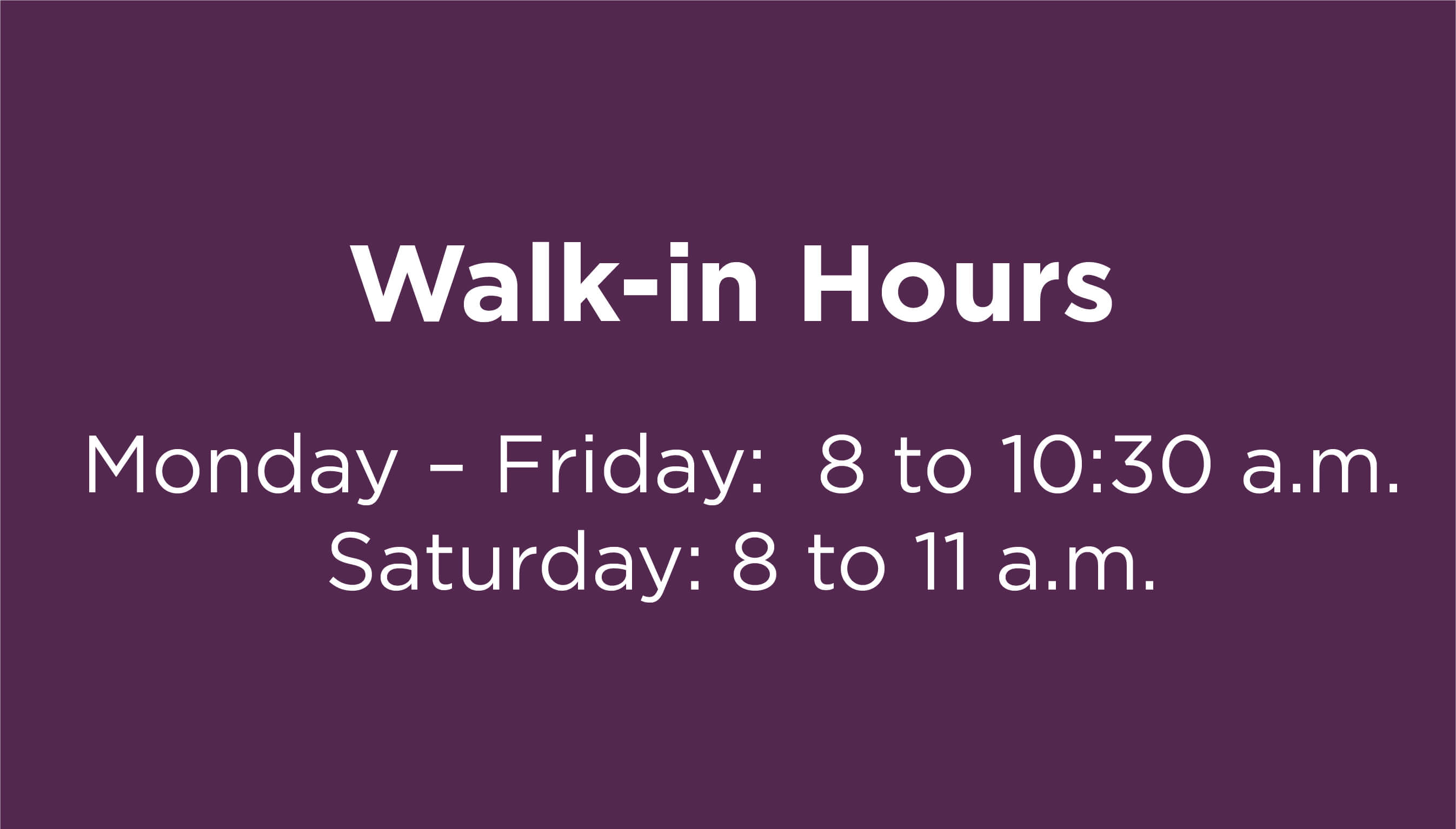 South Hills, Bethel Park Office Walk-in hours