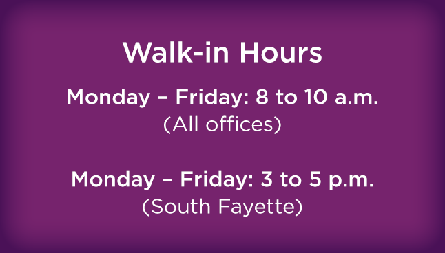 CCP South Fayette Walk-in Hours