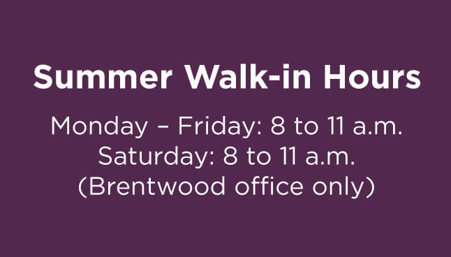 South Hills Pediatric Associates, Jefferson Hills Office Walk-in hours